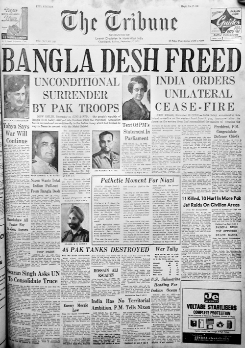 Indo-Pak War and creation of Bangladesh (1971)