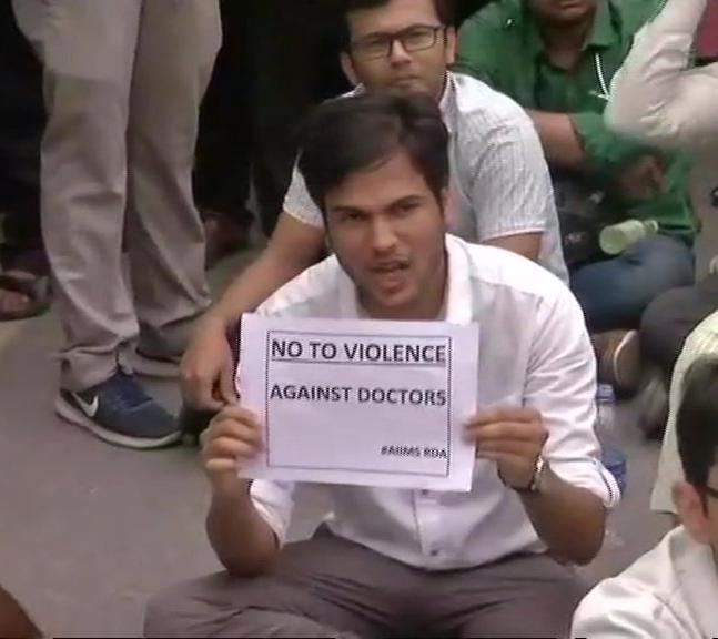 Resident doctors of AIIMS stage protest.