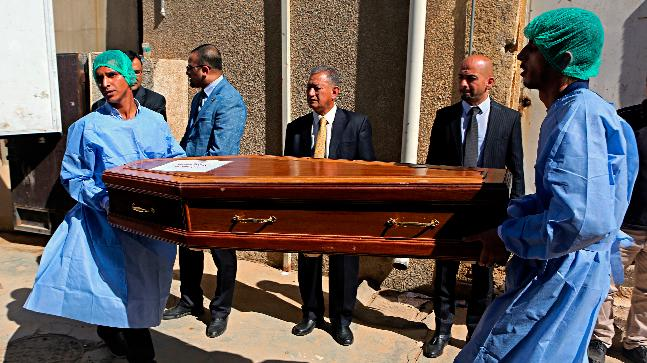 A casket holding one of 38 Indians abducted by the Islamic State group in 2014, that were found in a mass grave outside Mosul.
