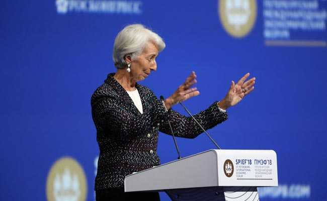 Christine Lagarde was one of the few women to speak at the event.