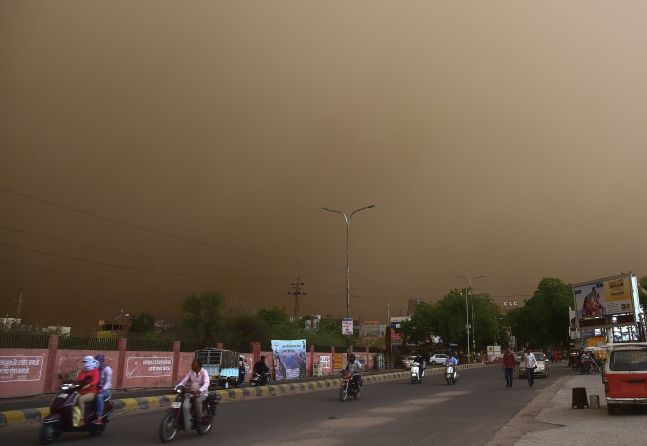 Dust storm approaches Bikaner city in Rajasthan.