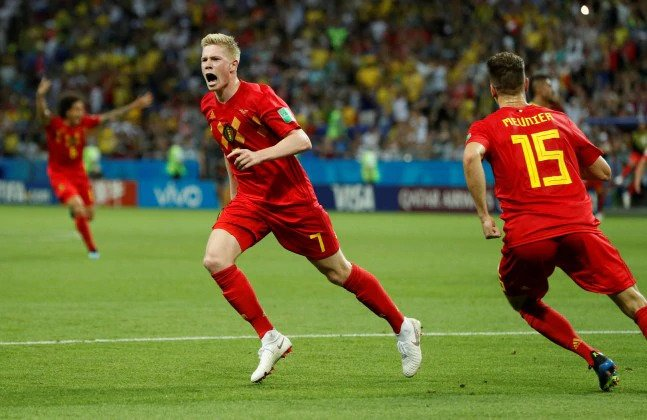 Kevin De Bruyne was adjudged the man-of-the-match for the Brazil vs Belgium game