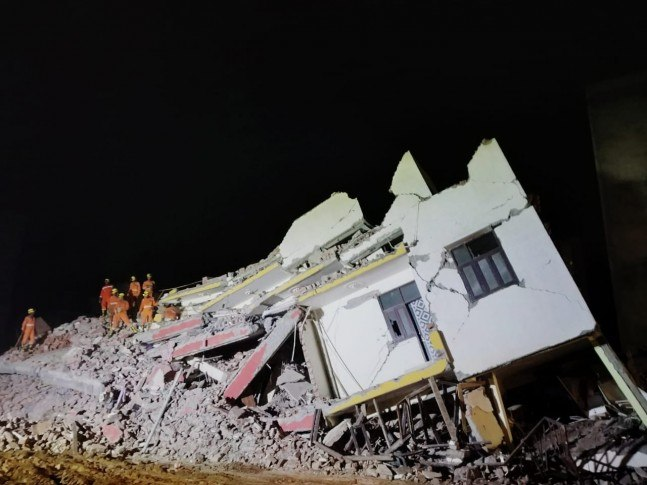 At least 12 people were inside the under-construction building when it collapsed.
