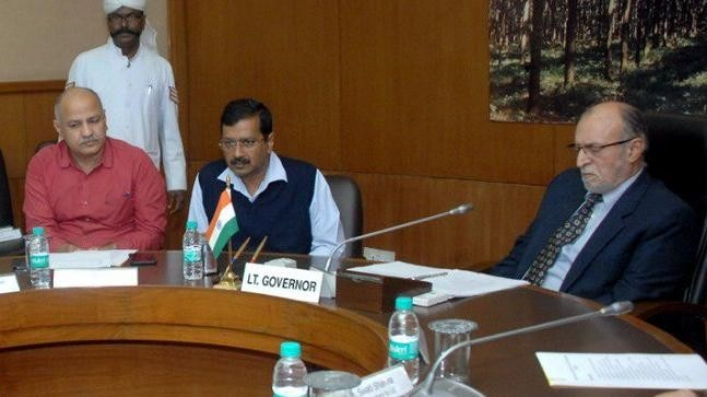 In August 2016, the Delhi High Court said the lieutenant governor was the capital territory's administrative head. The current L-G is Anil Baijal (right), seen here with Kejriwal and Sisodia.