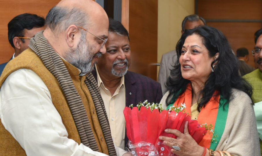 Mousumi Chatterjee with Amit Shah in Delhi