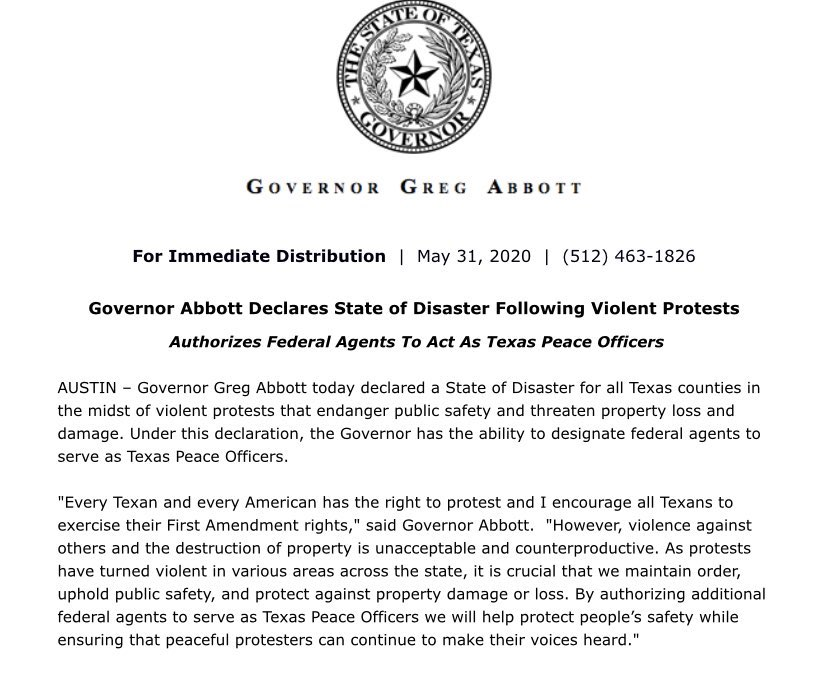 Texas a State of Disaster Greg Abbott