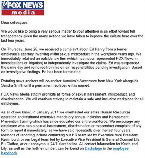 """Fox News terminate Ed Henry following 'Willful Sexual Misconduct"""" accusation"""