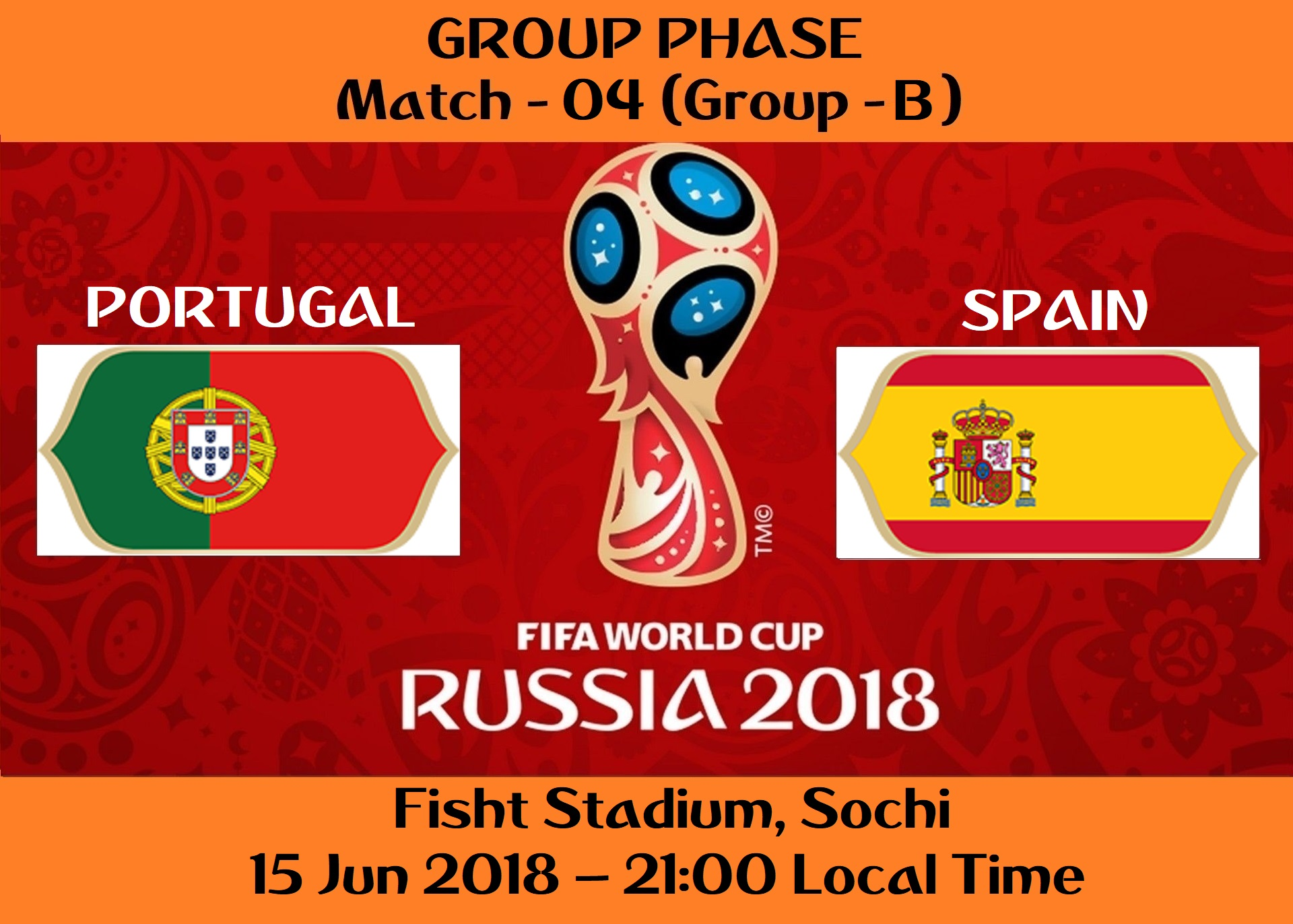 FIFA WORLD CUP 2018 MATCH - 4 - PORTUGAL vs SPAIN