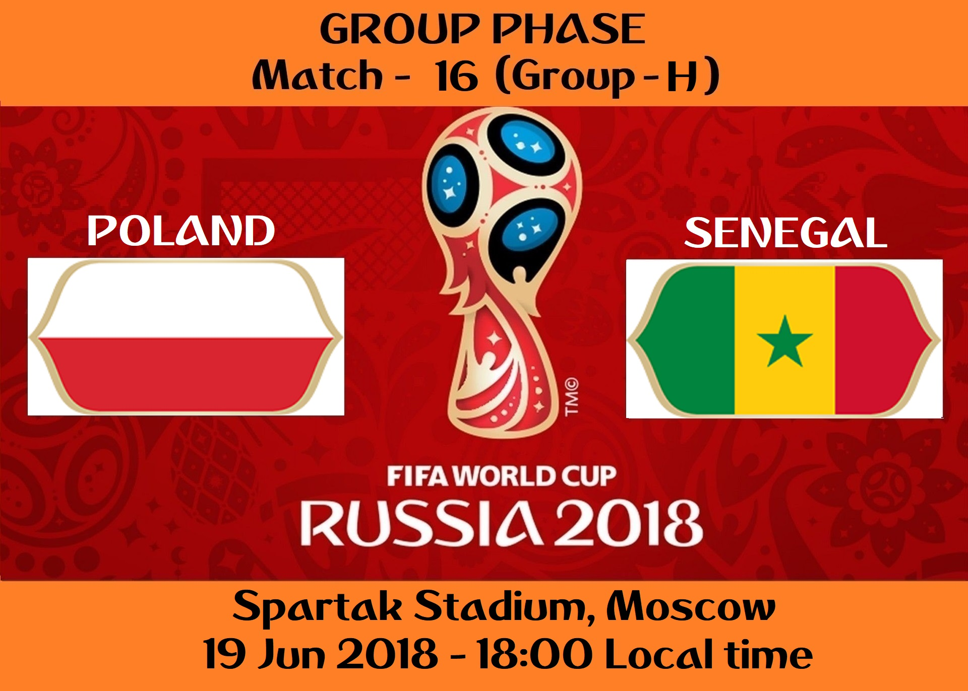 FIFA WORLD CUP 2018 MATCH - 16 - POLAND vs SENEGAL