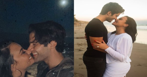 Demi Lovato engagement diamond ring with Max Ehrich