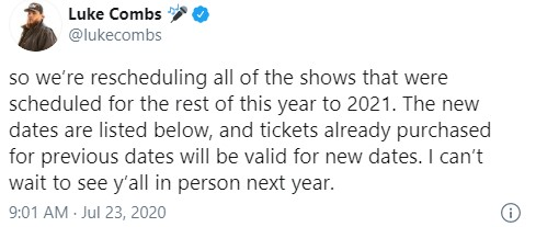 Luke Combs Rescheduled reminder of 2020 dates