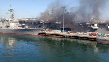 USS Bonhomme Richard on fire at Naval Base San Diego