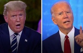 Donald Trump and Joe Biden speaking
