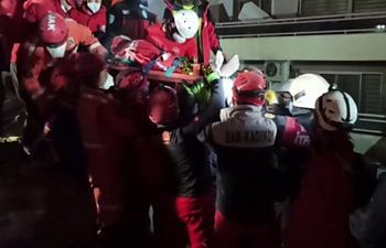 A man in his 70s has been found under rubble