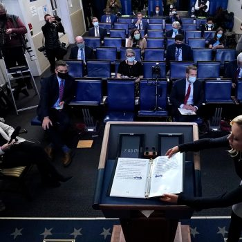 White House Press Secretary Kayleigh McEnany closes a notebook used by President Trump following his remarks on Nov. 5.