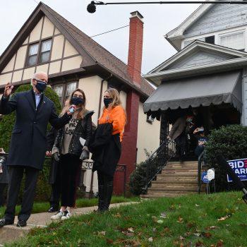 Joe Biden visits his childhood home in Scranton, Pennsylvania, on November 3.