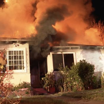 Firefighters respond to a blaze in Reseda on Dec. 16, 2020. (RMG News)