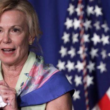 Deborah Birx at a White House briefing on 8 July 2020