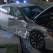 Father, 2 children struck by car that careened onto sidewalk after crash in Woodland Hills