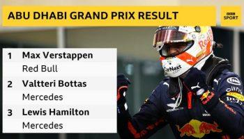 Results: 1. Max Verstappen (Red Bull), 2. Valtteri Bottas (Mercedes), 3 Lewis Hamilton (Mercedes)