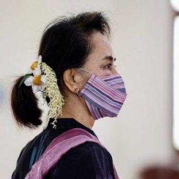 Aung San Suu Kyi at a coronavirus vaccination clinic in January, Naypyitaw, Myanmar