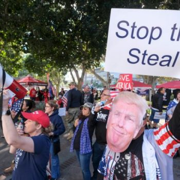 <p>File Image: Supporters of US President Donald Trump protest in Los Angeles, California, on 6 January</p> (AFP via Getty)