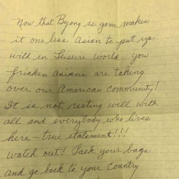 A letter to an Asian American widow that prompted a hate crime investigation is seen in a photo released March 23, 2021, by the Seal Beach Police Department.