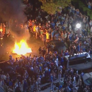 Fans lights fires in Westwood after UCLA secures spot in NCAA Final 4 with 51-49 win over No. 1 seed Michigan
