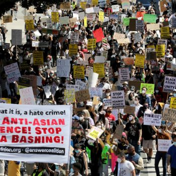 Hundreds take to the streets of L.A. as part of 'Stop Asian Hate' rallies across the U.S. to decry rise in violence
