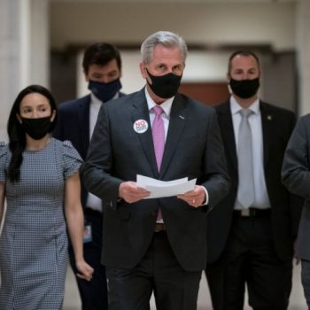 "House Minority Leader Kevin McCarthy, R-Calif., decries the Democratic $1.9 trillion COVID-19 relief package as ""a laundry list of left-wing priorities"" unrelated to the pandemic."
