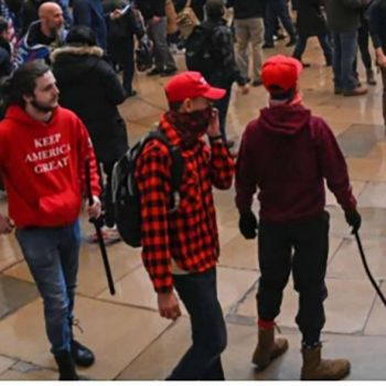 Elliott Bishai in the middle and Eliaz Irizarry on the right were among South Carolinians linked to the U.S. Capitol mob attack on Jan. 6, 2021.