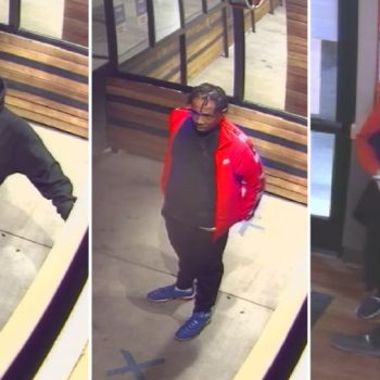 The Los Angeles County Sheriff's Department released these surveillance images of three robbery suspects they say ran over a woman in Lancaster.