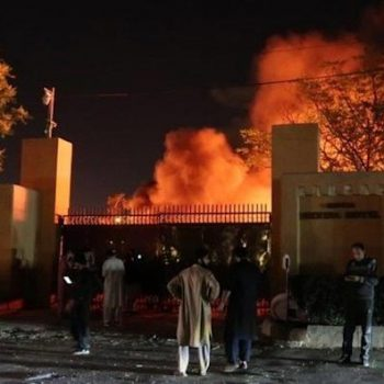 Smoke billows from the Serena hotel after a bomb blast in Quetta