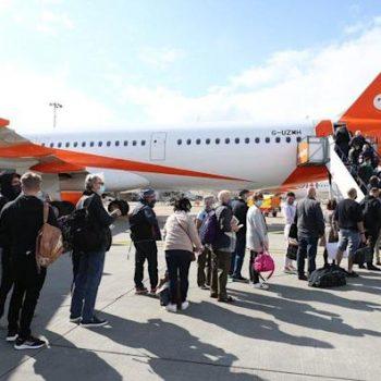 Passengers getting on an EasyJet flight at Gatwick