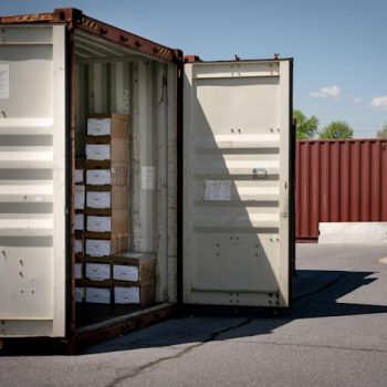 One of 33 containers of paper gun purchase records at the Bureau of of Alcohol, Tobacco, Firearms and Explosives' gun-tracing center in Martinsburg, W.V., April 19, 2021. (Erin Schaff/The New York Times)