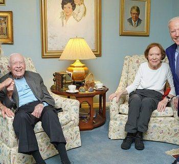 First Lady Jill and President Joe Biden visit with former President Jimmy and former First Lady Rosalynn Carter on on April 29, 2021.