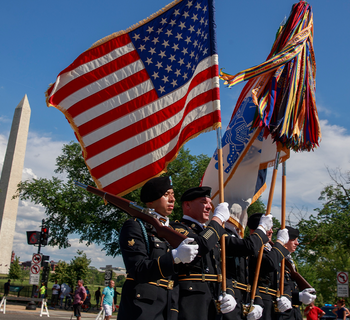 2019/05/27: United States Army Soldiers last marched in the National Memorial Day Parade in Washington D.C. on May 27, 2019. The parade was canceled in 2020 due to COVID-19. (Jeremy Hogan/SOPA Images/LightRocket via Getty Images)