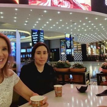 Latifa (centre) in an Instagram post which appears to have been taken in the Mall of the Emirates' VOX Cinema - INSTAGRAM