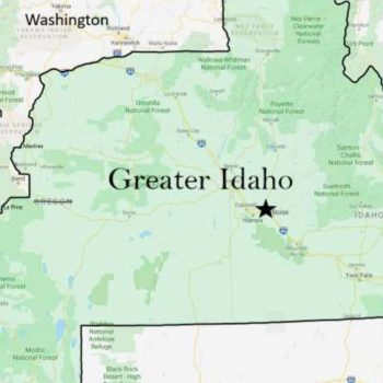 A map showing the proposed border of Idaho under a plan to annex some of Oregon's land put forth to Idaho lawmakers is seen in an image provided by the group Move Oregon's Border For a Greater Idaho.