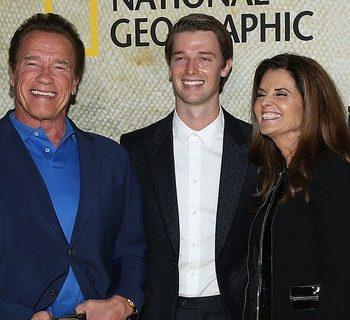 """From left to right: Christina Schwarzenegger, Arnold Schwarzenegger, Patrick Schwarzenegger, Maria Shriver and Katherine Schwarzenegger. The family was photographed attending the premiere of National Geographic's """"The Long Road Home"""" in October 2017. (Phillip Faraone/Getty Images)"""
