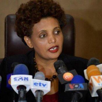 Birtukan Mideksa speaking to the press in 2019.