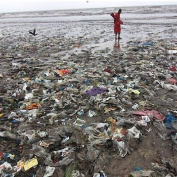 Plastic on a beach in India