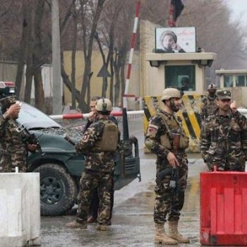 A security personnel guards an entrance near the Australian embassy at the Green Zone in Kabul on May 25, 2021