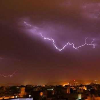 A view of thunder lightning strikes over the sky at walled city of Jaipur , Rajasthan , India on 19 May, 2017.