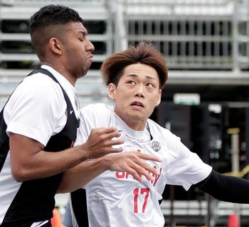 Soichiro Fujitaka (No. 17) in action in the men's semifinal match during the 3x3 Basketball Olympic test event at the Aomi Urban Sports Park on May 16, 2021, in Tokyo, Japan. (Kiyoshi Ota/Getty Images)