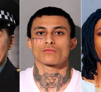 Emonte Morgan, center, 21, is charged with first-degree murder in Saturday's fatal shooting of 29-year-old Chicago police officer Ella French, as well as attempted murder and other charges. His brother, Eric Morgan, was also charged