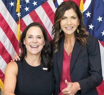 South Dakota Gov. Kristi Noem meets with then-Ohio GOP Chair Jane Timken at an Ohio Republican Party event in Columbus, Ohio, in September of 2020.